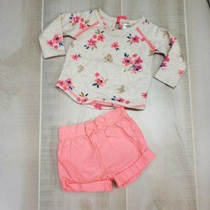 6 Month Outfit Oshkosh Sweatshirt & Neon Shorts